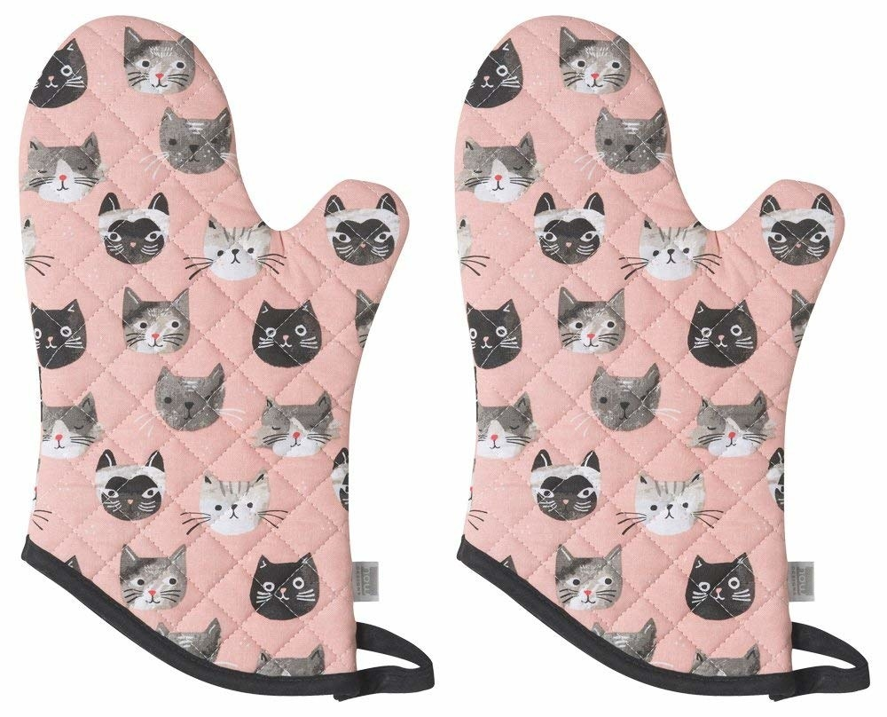 the pink mitts with grey and black cats printed on them
