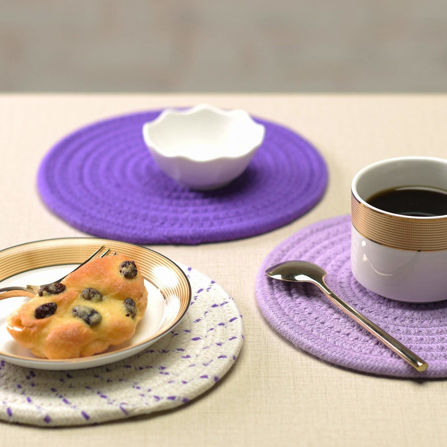 Coasters in use on table