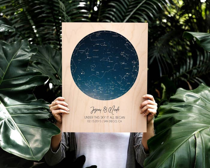 Natural wood board with round star chart and personalized with a name and date