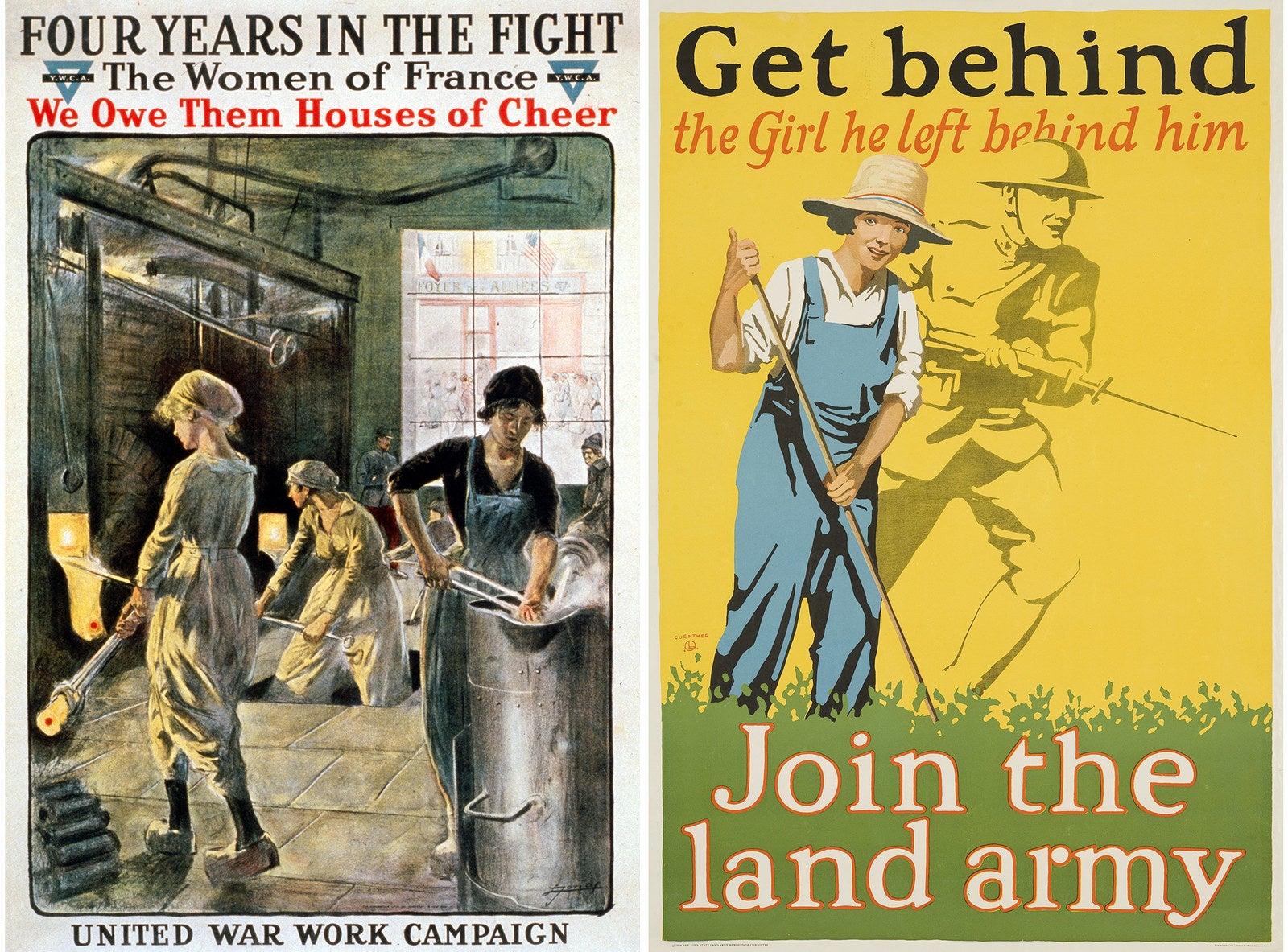 Posters encouraging women to join in the war effort, 1918.