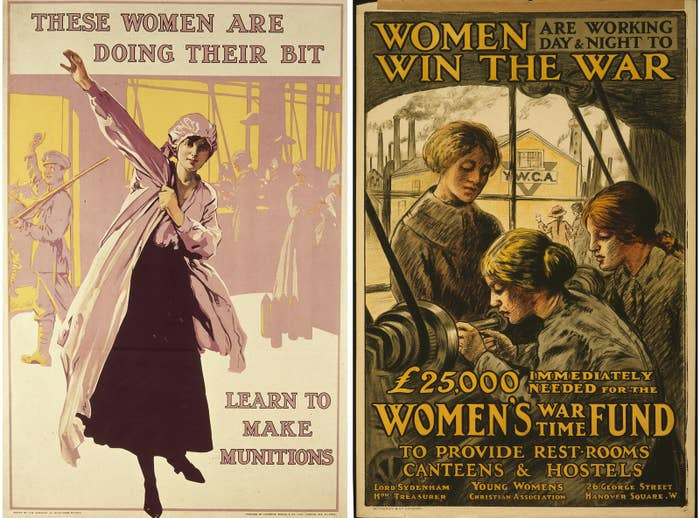 Left: A British recruitment poster urging women to work in the munition factories as part of Britain's home front during World War I, circa 1916. Right: A World War I–era British poster showing women working at a lathe in a factory complex.