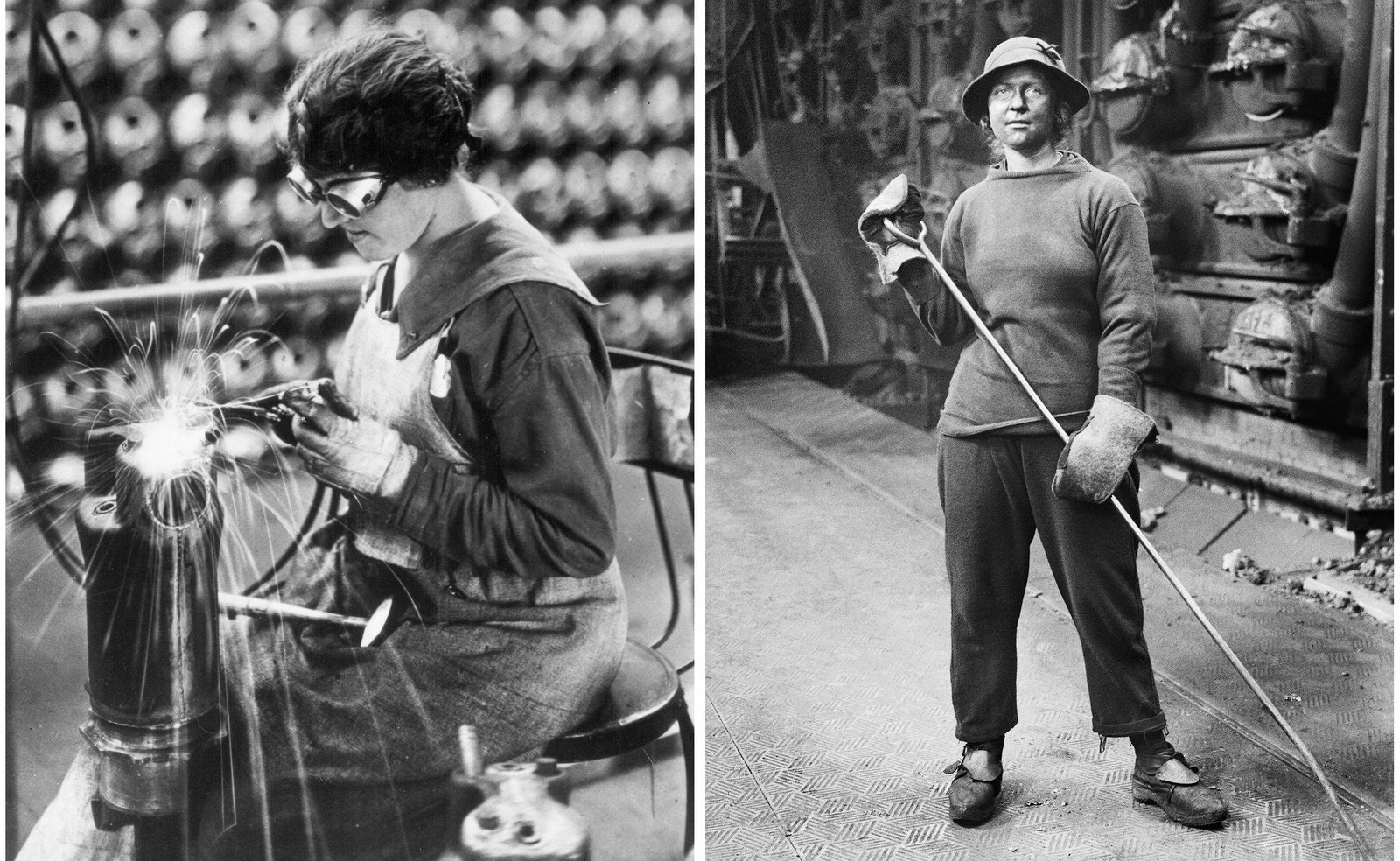 Left: A worker at an American munitions factory, circa 1918. Right: A war worker stands in front of the furnaces at the South Metropolitan Gas Company in London, 1918.
