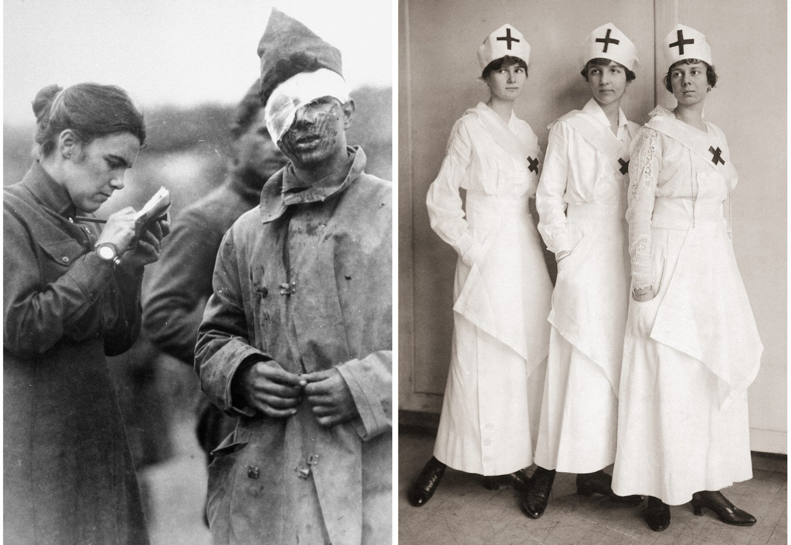 Left: A Salvation Army worker writes a letter home for a wounded soldier. Right: British nurses, circa 1916.