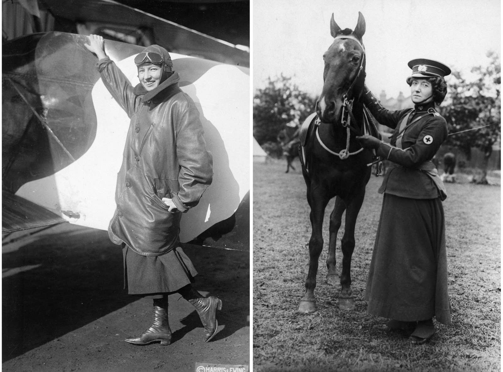 Left: Pilot Marjorie Stinson poses beside her aircraft, wearing a dress underneath a large bomber jacket and a pilot's cap with glasses, 1917. Right: Mabel St Clair Stobart in the field, circa 1913. She founded the Women's Sick and Wounded Convoy Corps, and organized hospitals in Europe during World War I.