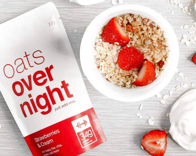 """The three-pack includes a bag of Chocolate Peanut Butter Banana, Strawberries & Cream, and Green Apple Cinnamon flavors. The whole-grain oats are gluten-free and made with chia seeds, flaxseeds, maca powder, custom whey protein, and real fruit. Promising review: """"I am horrible about not eating in the morning and waiting until lunch time to eat. At that point, I am so hungry that I overeat. My metabolism has slowed down since turning 30 and I started to gain weight. I thought if I tried Oats Overnight it would help with my overeating at lunch. I received my box on Thursday and I used my first packet on Friday and it was delicious! I will be buying more for sure, I am a very happy buyer!"""" —Julie Shilton Price: $18"""