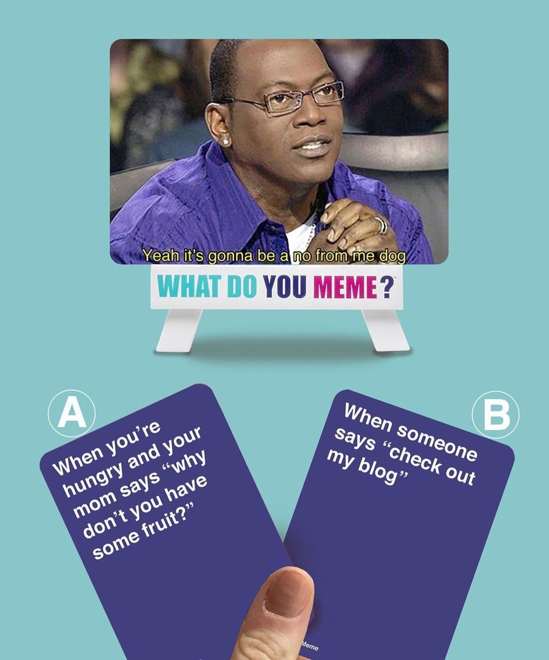 photo of a randy jackson and two meme card options for gameplay