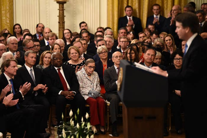 Ginsburg with other justices at Kavanaugh's swearing-in on Oct. 6.