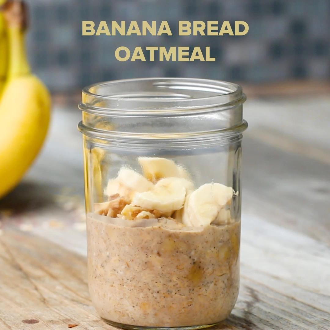 You can easily make a week's worth (at least!) of breakfast by mixing all of the dry ingredients (instant oatmeal, freeze-dried banana, walnuts, vanilla bean, and sugar), and storing them in your cutest mason jars. Then, in the morning, all you have to do is pour in hot water or milk, and voilà! You've got banana bread to go, basically. Recipe here.