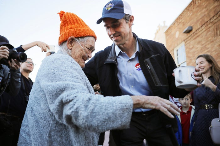 Democratic Senate candidate Beto O'Rourke meets 77-year-old Texas voter Pamela Aguirre after he cast his ballot on Nov. 6 in El Paso, Texas.