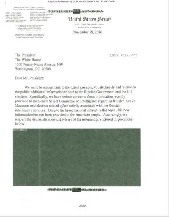 Here's The Classified Letter About Russia That Senate Democrats Sent To Obama After Trump Was Elected