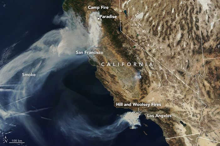 A satellite image of the wildfires burning across California.