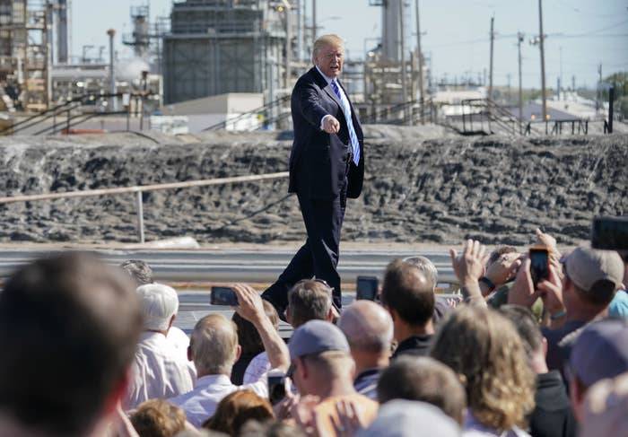 President Trump's speech at the Mandan Refinery in North Dakota in September.