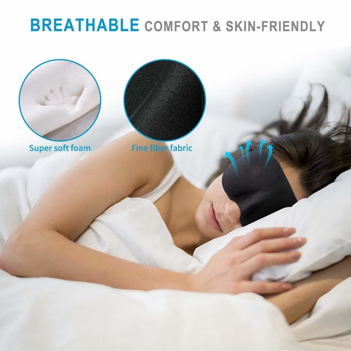 Model in the breathable eye mask