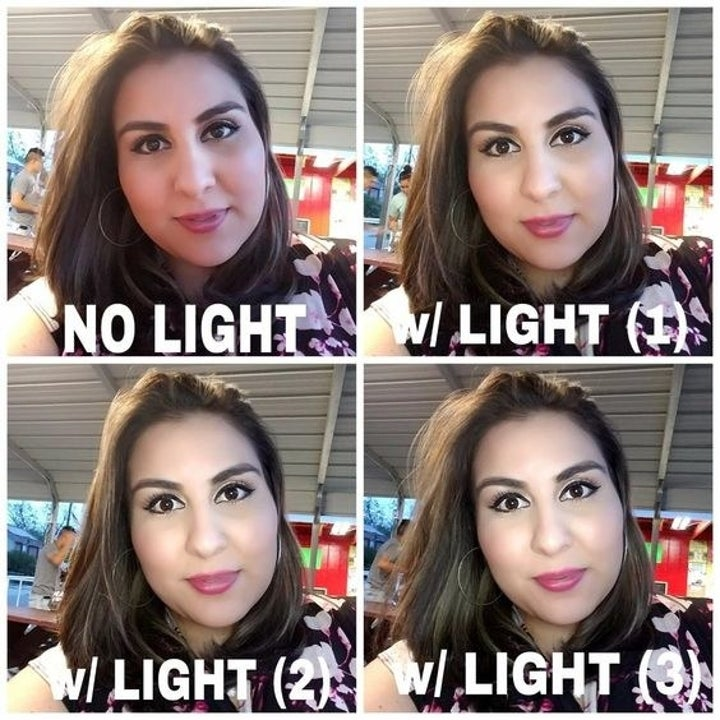 A reviewer in selfies showing the difference between lighting settings