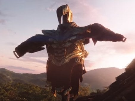 After the Marvel logo faded to dust, we witnessed something truly horrible. Thanos's suit in a T pose. Haven't you tortured us enough Thanos?