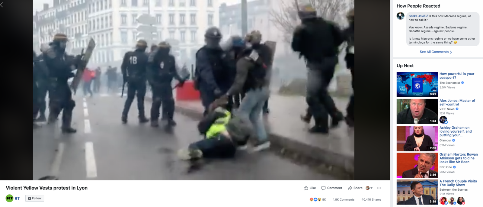 RT's video of police brutality during a Yellow Vest demonstration in Lyon, France.