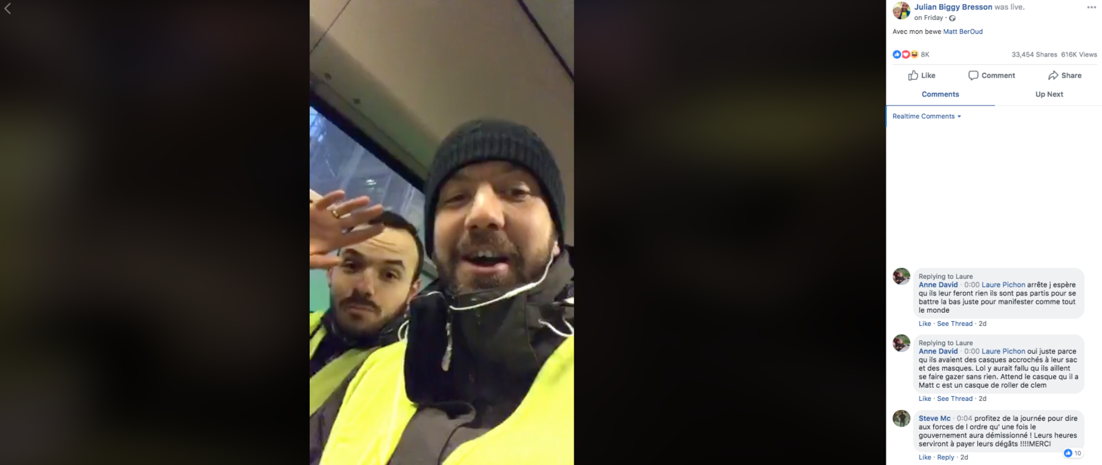 A demonstrator named Julian Bresson goes live on Facebook from a police van after being arrested before the protests on Saturday.