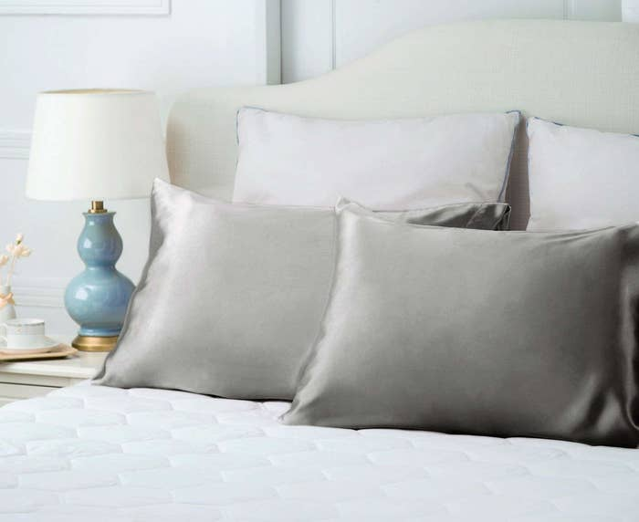 The Bedsure Silk Satin Pillowcases in silver gray.