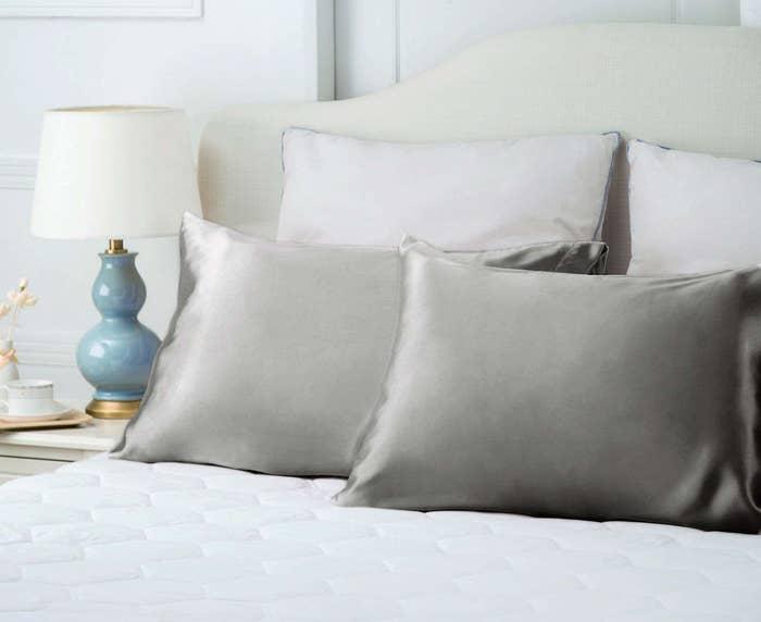 The Bedsure Silk Satin Pillowcases in silver gray.