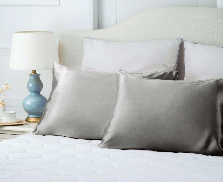 The Bedsure Silk Satin Pillowcases in silver gray