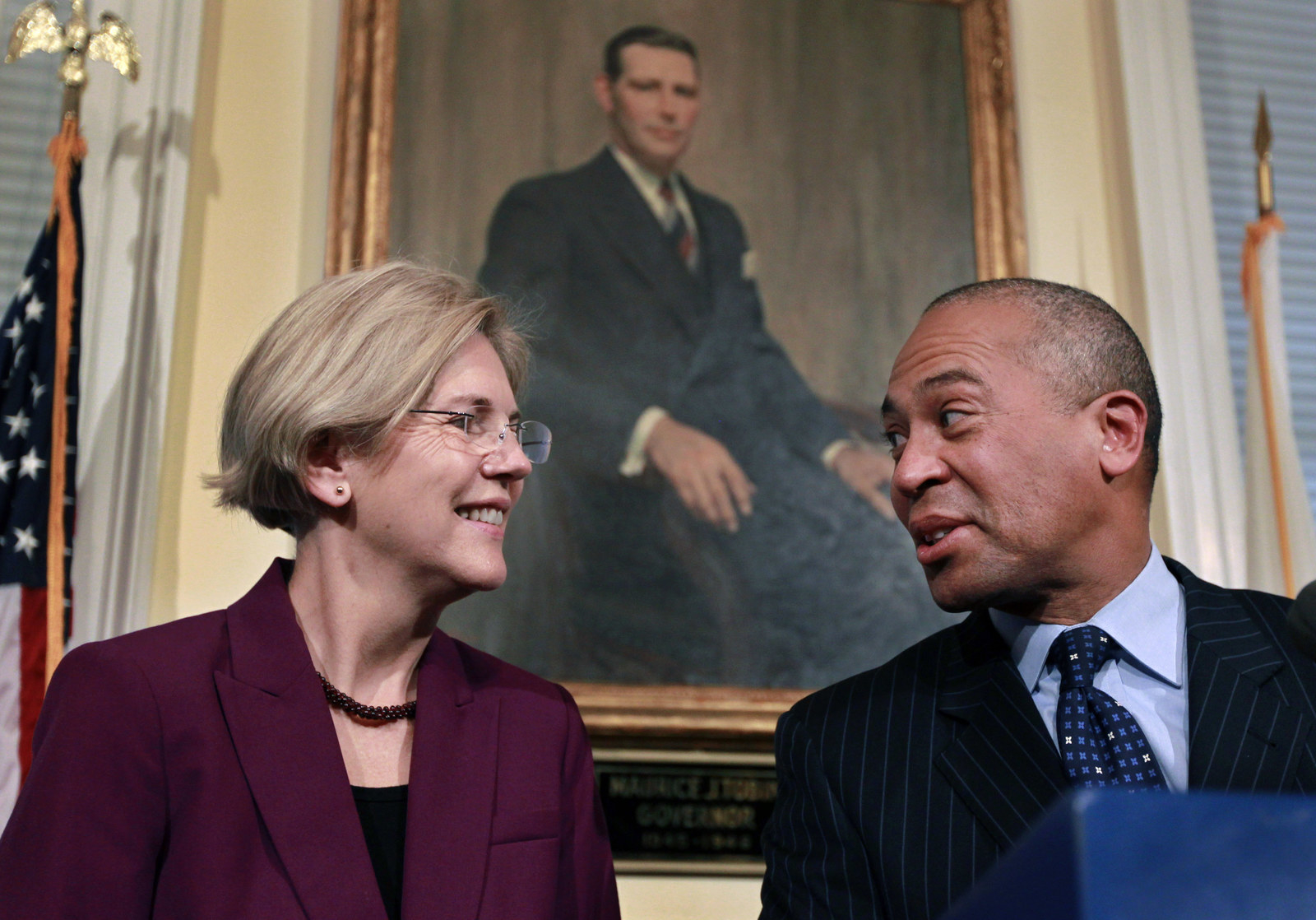 Warren with Patrick at a news conference at the Statehouse in Boston, Thursday, Nov. 8, 2012.