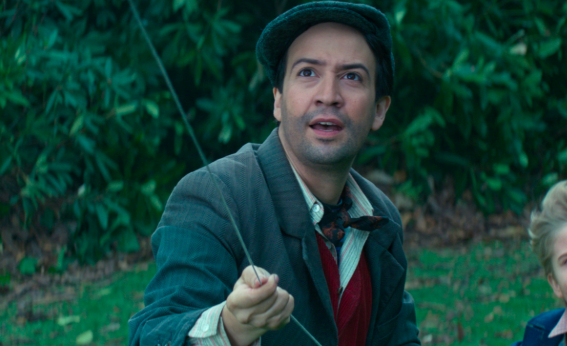 """And finally, Mary Poppins Returns is filled with many practical effects (aka stunts performed IRL rather than with CGI), and Lin-Manuel Miranda described performing one of these effects """"the hardest 10 seconds"""" of his life. -  """"There's one scene in this movie where I light a lamp, ride a big, steal an apple from a cart, throw it to an orphan child, all while singing in a Cockney accent,""""  Miranda  said."""