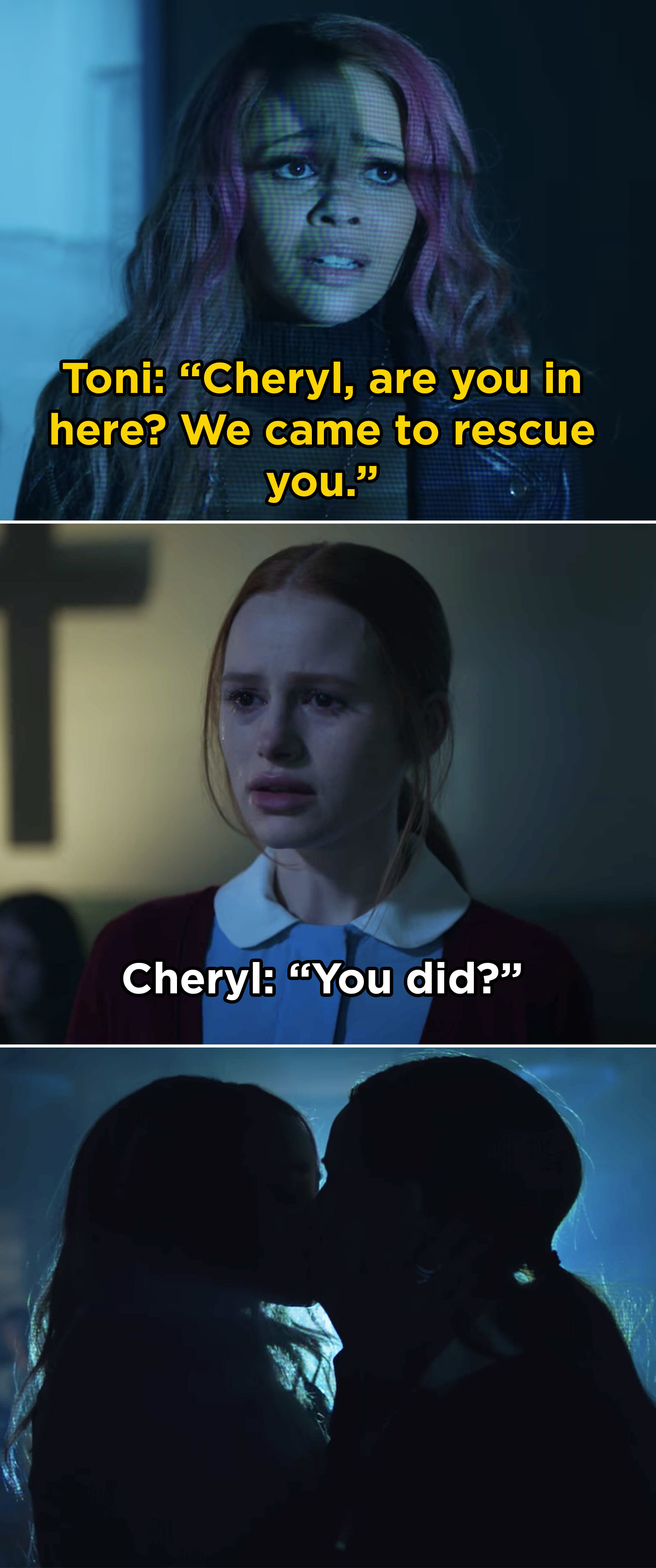 In  Riverdale , Cheryl and Toni finally got together after Toni and Veronica mounted a rescue to save Cheryl from the Sisters of Quiet Mercy.