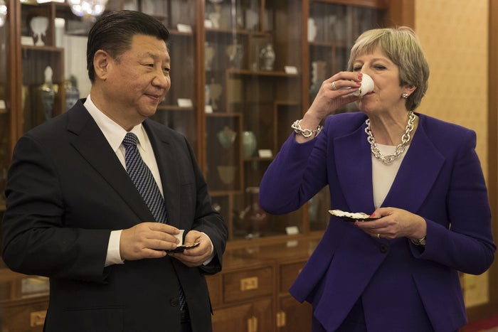 Beijing, February 1British prime minister Theresa May and Chinese president Xi Jinping take part in a tea ceremony at Xi's official Diaoyutai State Guesthouse.