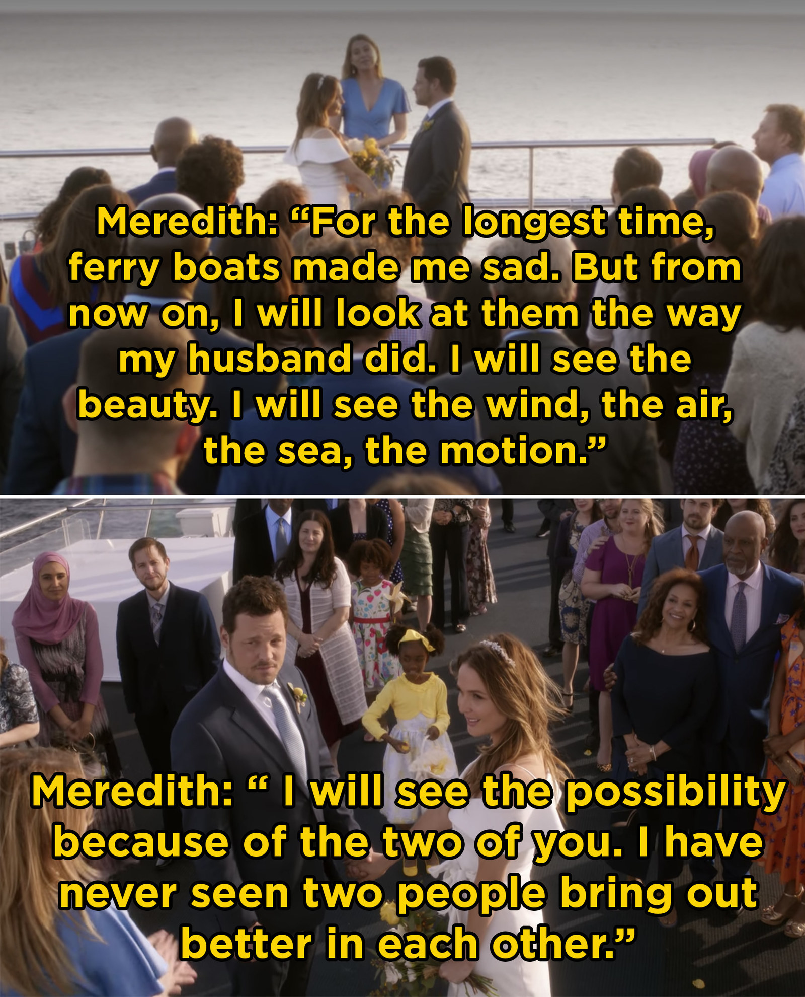 In  Grey's Anatomy , Jo and Alex got married in perfect  Grey's  fashion: on a ferryboat with Meredith as the officiant.