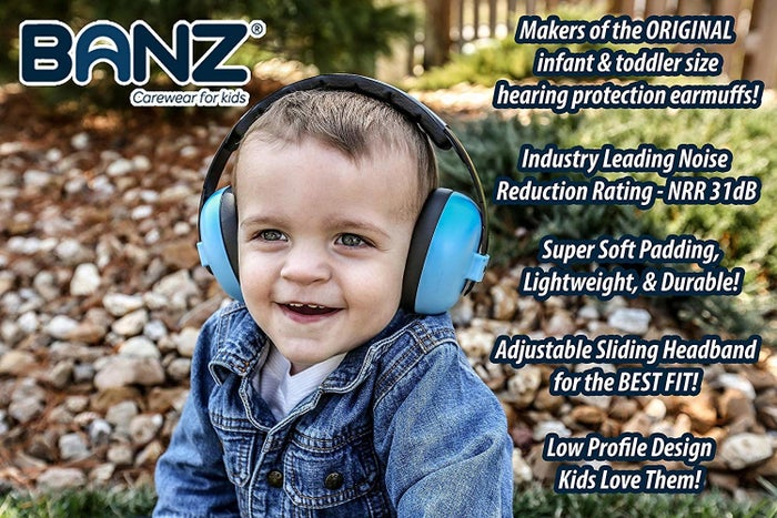 """Promising review: """"These worked perfectly for my six week old son. We used them during a marching band parade (24 bands with very long percussion strings) and he slept the entire time. My husband also brought him up on stage during a concert and he wasn't the least bit upset about the noise. They're very lightweight too. He doesn't mind wearing them for long periods."""" —StaciGet a pair from Amazon for $24.95 (available in 26 colors)."""