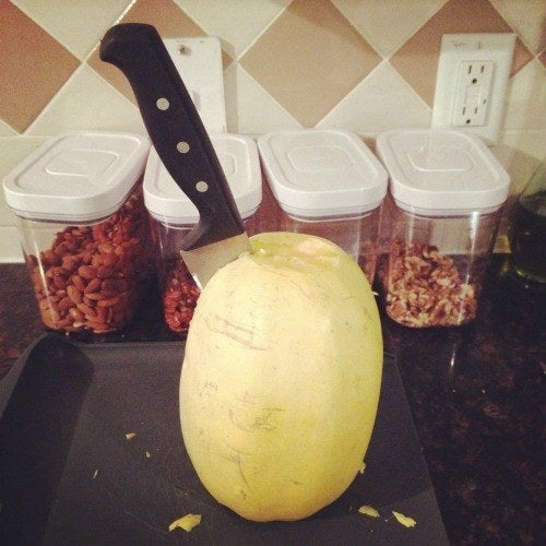 (One of my early attempts at cutting spaghetti squash.)