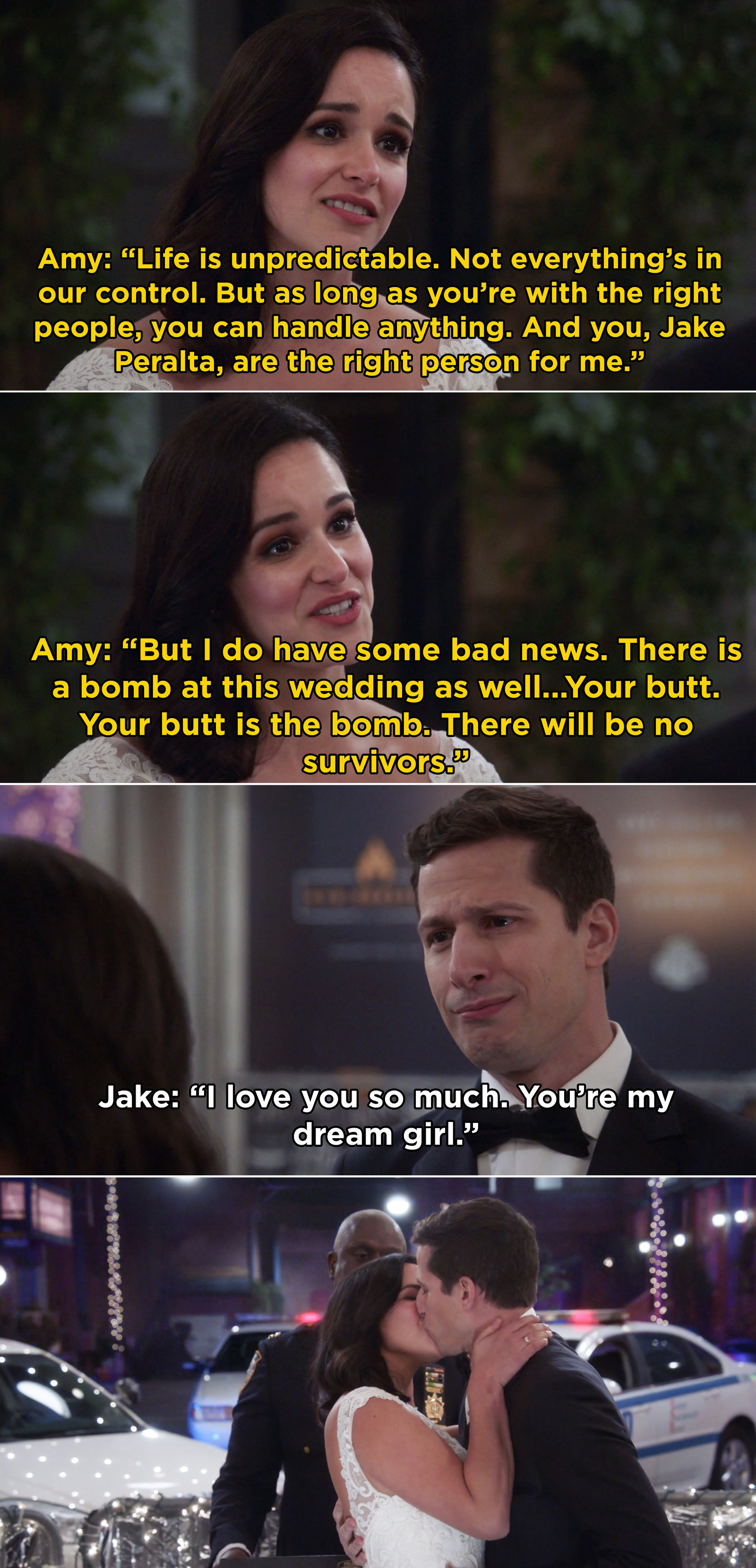 In  Brooklyn Nine-Nine , Jake and Amy got married in a perfect ceremony outside the Nine-Nine.