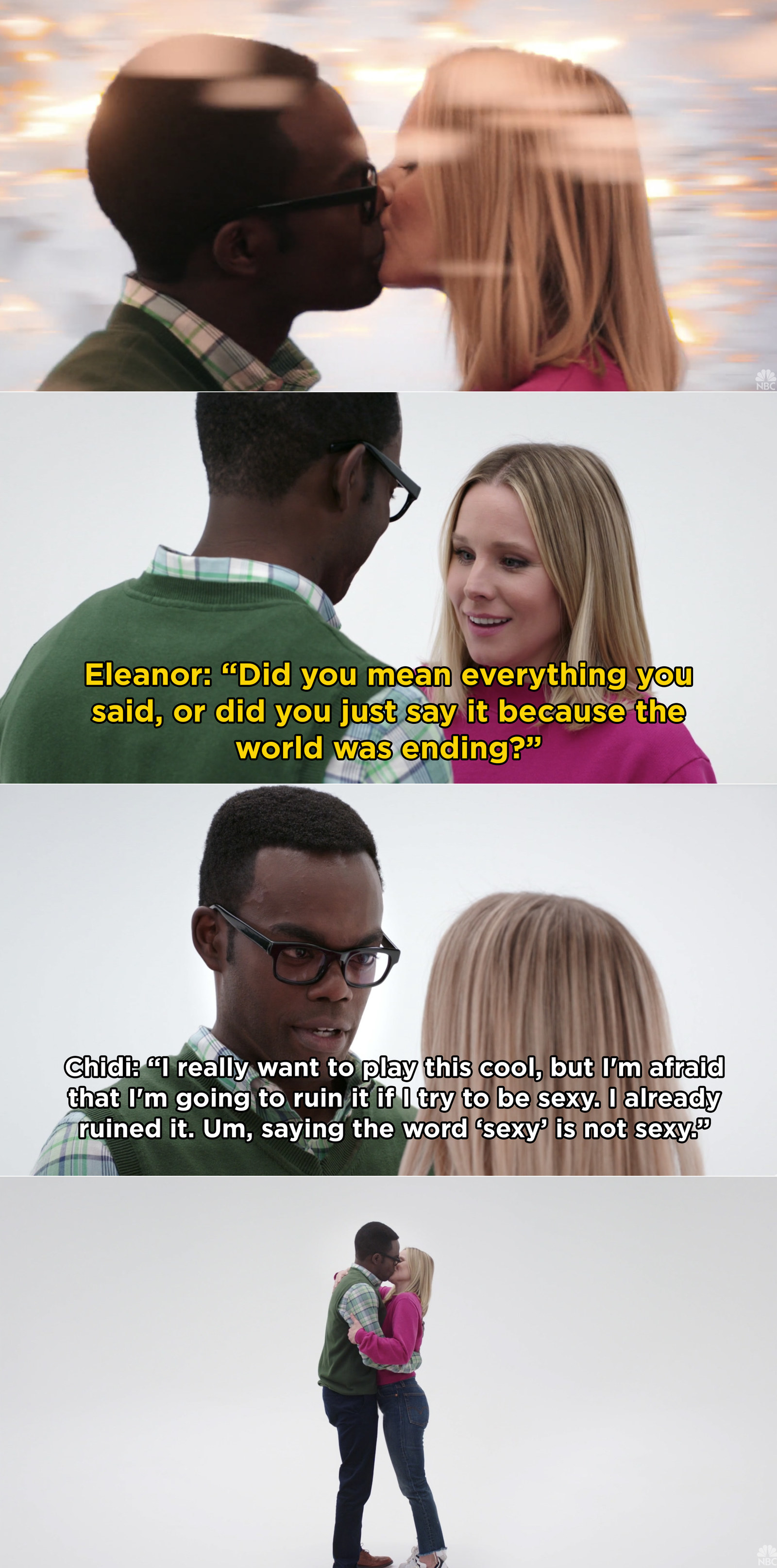 In  The Good Place , Chidi and Eleanor kissed while inside Janet's void and it was perfect to say the least.