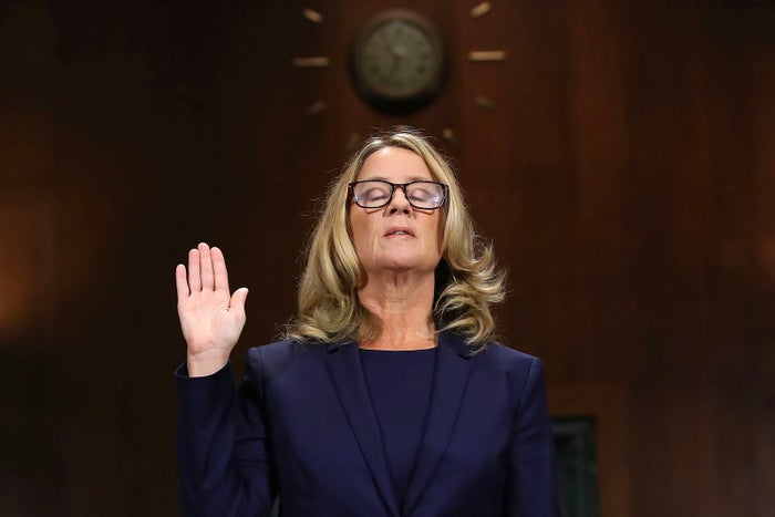 Christine Blasey Ford is sworn in before testifying to the Senate Judiciary Committee on Sept. 27 in Washington, DC. A professor at Palo Alto University and a research psychologist at the Stanford University School of Medicine, Ford said then–Supreme Court nominee Judge Brett Kavanaugh sexually assaulted her during a party in 1982 when they were high school students in suburban Maryland.
