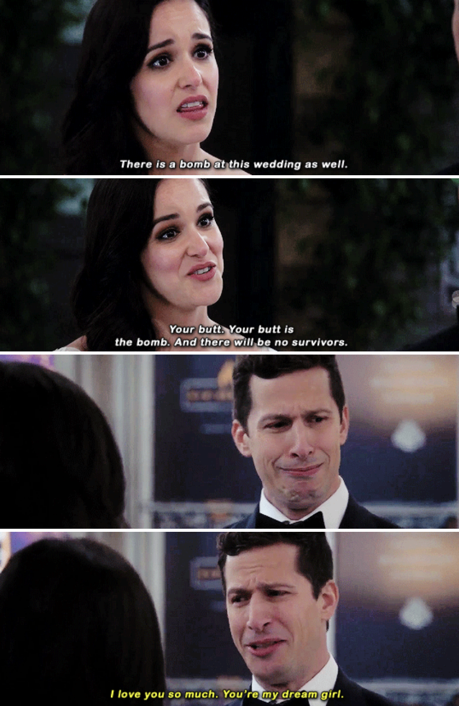 "Jake and Amy from  Brooklyn Nine-Nine  -  ""Peraltiago for sure. They're the definition of opposites attract and they had chemistry in the pilot. They're one of the few TV couples that never broke up and created a bunch of drama. I'm so happy they're married, and I can't wait to see what Season 6 brings them!"" — giav41cc6e5b0"