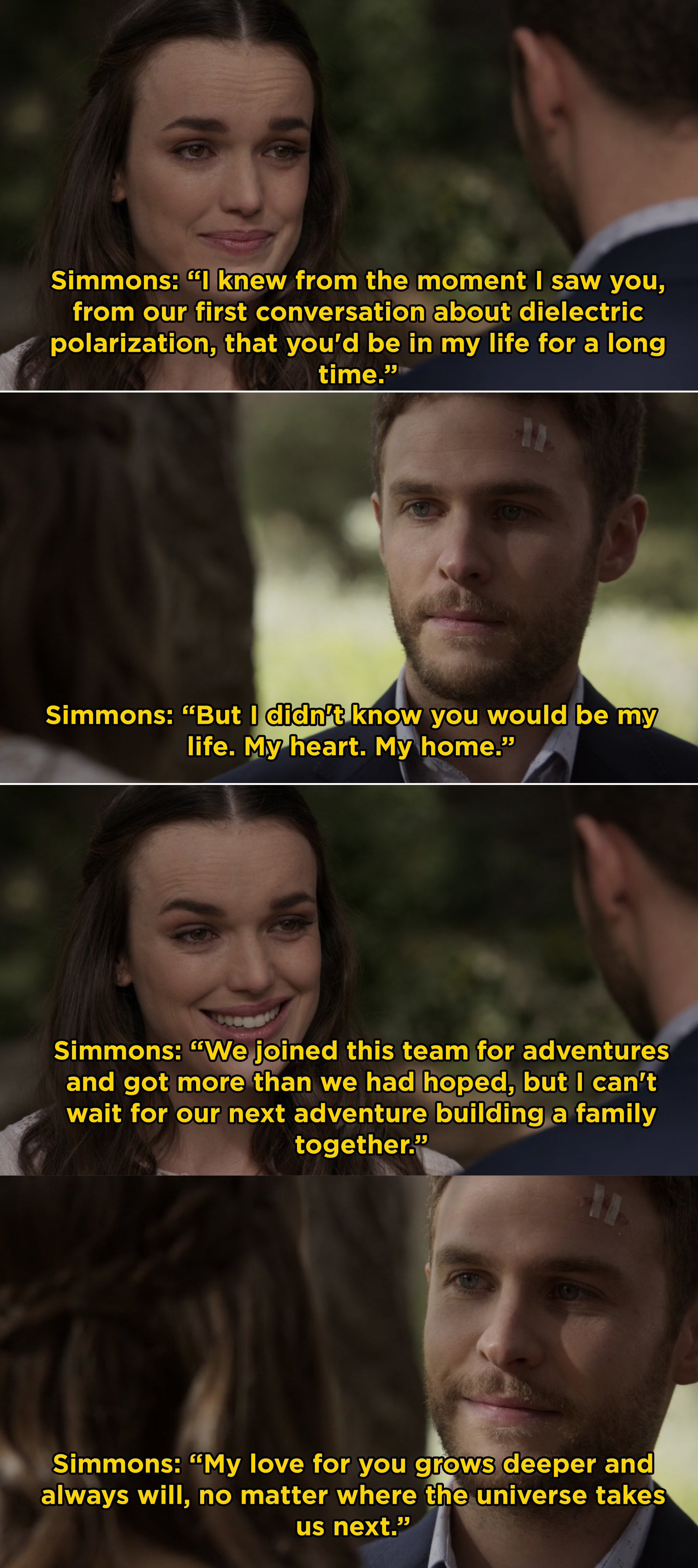 Simmons delivered these heartbreaking and beautiful vows to Fitz on their wedding day in  Agents of S.H.I.E.L.D.