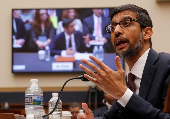 Google CEO Sundar Pichai testifies at a House Judiciary Committee hearing in Washington on Dec. 11.