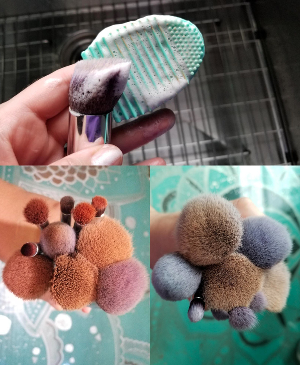 a soapy brush and textured silicone egg; before: dirty brushes looking pink and orange and after: the clean brushes now grey and beige