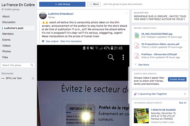 """""""Yellow Vests"""" Are Sharing So Many Conspiracy Theories About The Strasbourg Shooting That Facebook Groups Are Locking Their Comments"""