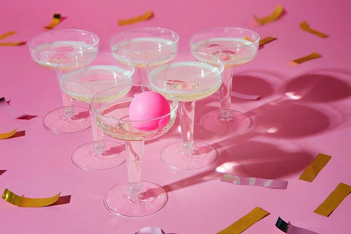 This set includes 12 wide neck, recyclable champagne saucers and three ping pong balls that are safe for contact with food. Get it from Amazon for $15.91+ (available in five styles).