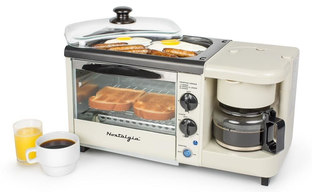 The coffee maker can brew up to four cups of coffee at a time. The toaster function can toast up to four slices of toast at a time. And the non-stick griddle on top is perfect for preparing meats and eggs. There is a 30-minute timer with automatic shut-off, and the griddle and oven tray can be easily removed for simple clean-up.Get it from Walmart or Jet for $54.99.