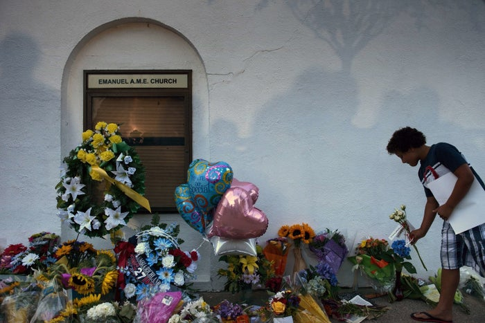 Flowers for shooting victims at a memorial outside the Emanuel AME Church on June 18, 2015, in Charleston, South Carolina.