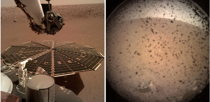 These handout photos made available by NASA on Nov. 26 show the Martian surface after NASA's InSight lander touched down on the red planet.
