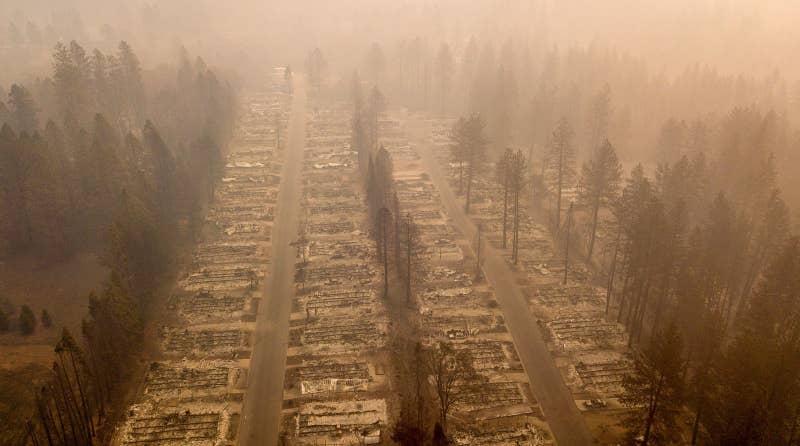 A burned neighborhood is seen in Paradise, California, on Nov. 15, 2018.