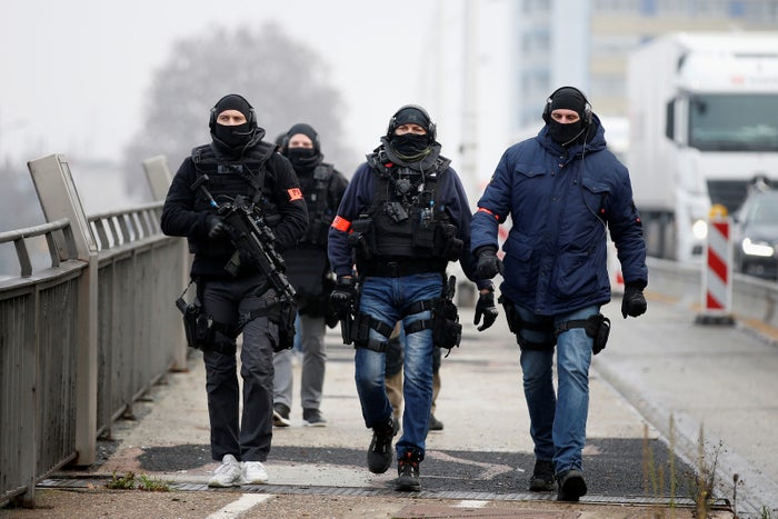 Members of the French special police Research and Intervention Brigade (BRI) patrol at the French–German border.