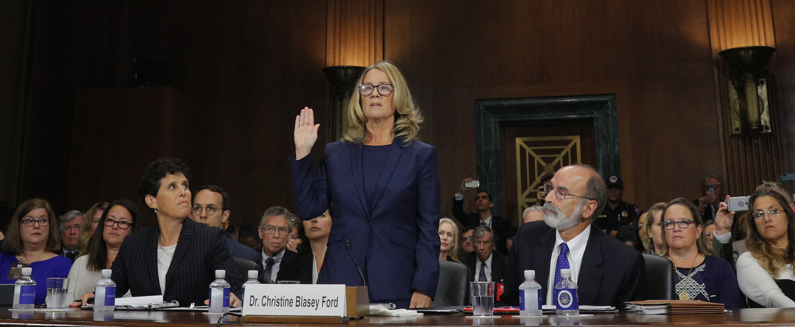 WASHINGTON, DC - SEPTEMBER 27: Professor Christine Blasey Ford, who accused U.S. Supreme Court nominee Brett Kavanaugh of a sexual assault in 1982, is sworn in to testify before a Senate Judiciary Committee confirmation hearing for Kavanaugh on Capitol Hill September 27, 2018 in Washington, DC. A professor at Palo Alto University and a research psychologist at the Stanford University School of Medicine, Ford has accused Supreme Court nominee Judge Brett Kavanaugh of sexually assaulting her during a party in 1982 when they were high school students in suburban Maryland.