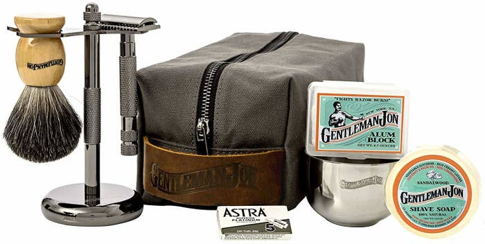 It comes with a safety razor, badger hair brush, canvas and leather dopp kit, shave stand, alum block, stainless steel shave bowl, shave soap, and five blades.Price: $75