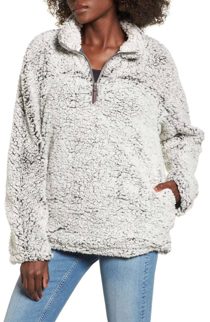"""Promising review: """"What's not to love? This sweater is super cozy! It's oversized and perfect for lounging around. I've worn it multiple times and haven't noticed any shedding or anything either."""" —SamanthaB89Get it from Nordstrom for $49.90+ (available in sizes S-L and in six colors)."""