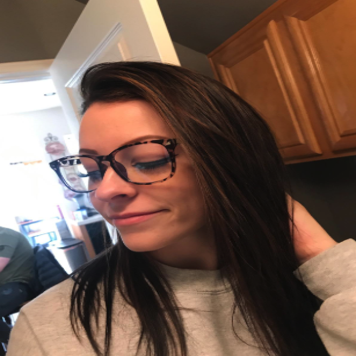 a reviewer wearing the glasses