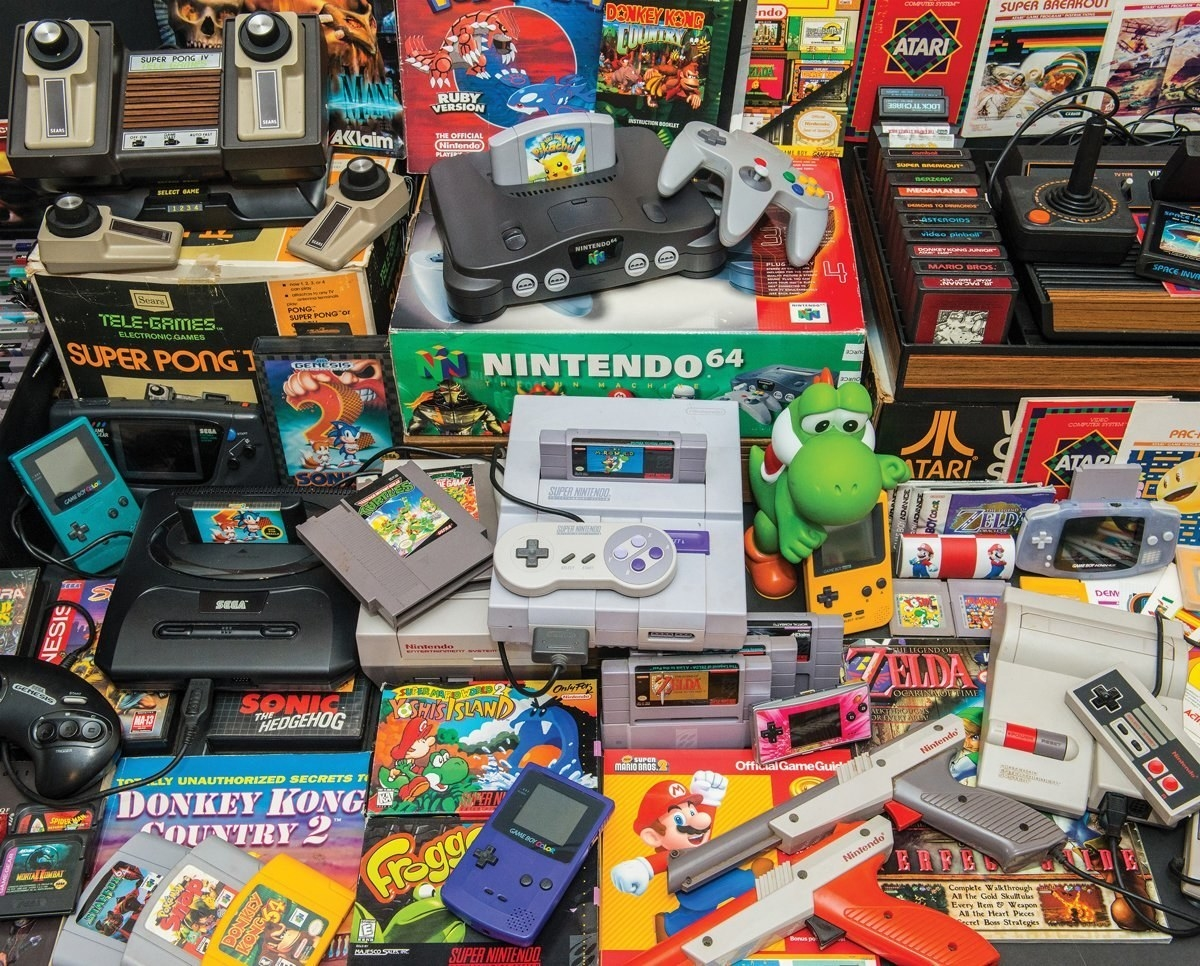 the puzzle that shows a pile of video games and systems
